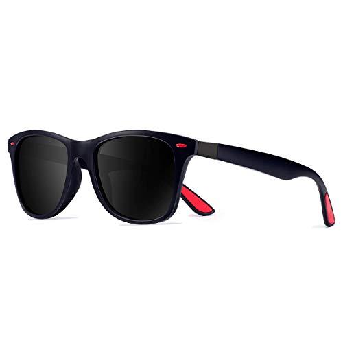 CHEREEKI Gafas de Sol Polarizadas, Gafas de Sol de Moda Hombre Mujer 100% Protección UV400 Gafas para Conducción (Azul-Negro)