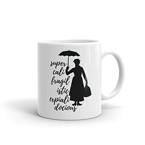 Tazas de cerámica Mary Poppins película musical de fantasía Mr. Dawes Michael-Banks Jane Super Cali Fragil Istic Expiali Docious Gifts Tazas de café té 11 oz