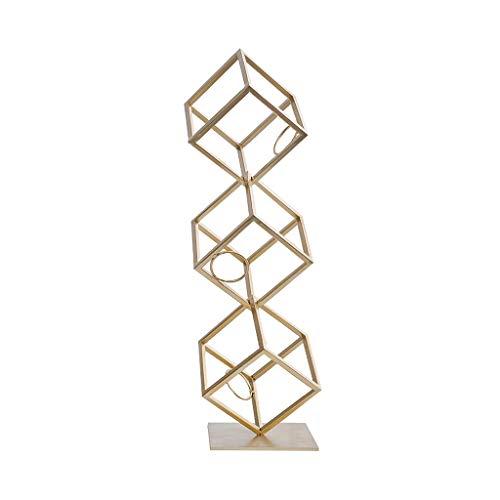 Botellero Encimera vertical Metal Wine Rack Display Stand Creative Cube Modern Fashion Art Design es muy adecuado para el almacenamiento y la decoración del hogar (oro) Estante para botellas