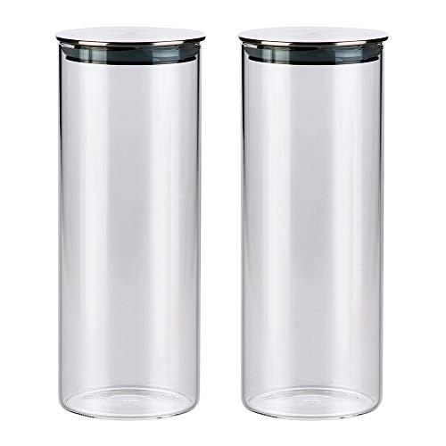 Vorratsgläser aus Borosilikatglas mit Deckel 2er Set, Glas Vorratsdosen Küche Lebensmittel Lagerung Behälter, Spülmaschinenfest, 1000ml
