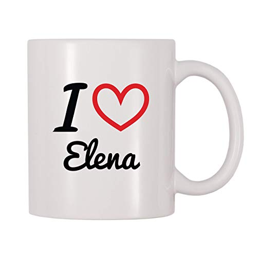 N\A Taza de café con Nombre Personalizado de I Love Elena