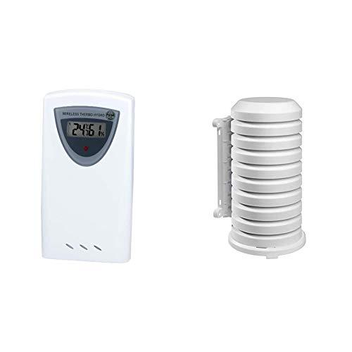 Bresser Funkwetterstation Thermo/Hygro Sensor 5 Kanal 433 Mhz Frequenz für Temperatur- und Luftfeuchtigkeitsermittlung, weiß & TFA Dostmann Schutzhülle für Sender Artikel, leicht zu montieren, weiß