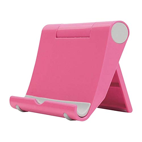 happysdh Tablet Stand Adjustable Desk Mobile Phone Holder Foldable Portable Video for online learning, work at home and office (Hot Pink)