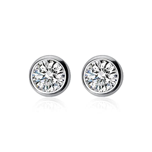 Tiny Dazzling Round CZ 4mm 5mm 6mm Stud Earrings for Women Girls Kids Jewelry Gift