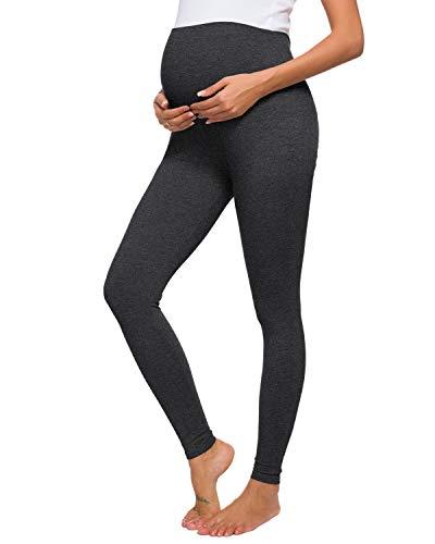 Love2Mi Damen Lange Umstandsleggings Bequeme Stretchhose Schwangerschafts Leggings, Holzkohle, XL