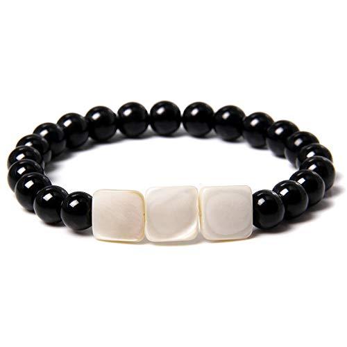 Natural irregular agua dulce madre de perlas perlas pulseras hombres 6 mm polsihed negro onyx agat pulsera mujeres hecha a mano joyería-3_CHINA_17 cm