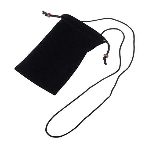 DFVmobile - Etui mit Kette & Schleife-Verschluß Tasche aus Stoff KunstwildlederWeichem Tuch fürHaier Ginger G7 - Schwarz