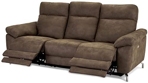 Ibbe Design Braun Stoff 3er Sitzer Relaxsofa Couch mit Elektrisch Verstellbar Relaxfunktion Heimkino Sofa Doha mit Fussteil, Federkern, 222x96x101 cm