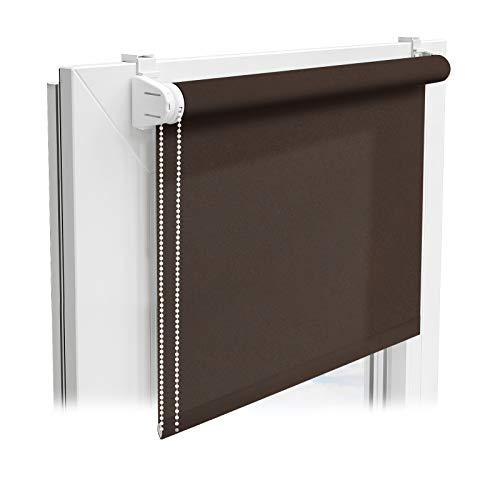 casa pura® Sichtschutzrollo - lichtdurchlässiges Rollo als Sichtschutz am Fenster - Fensterrollo in vielen Größen und Farben | Braun | 110x150cm