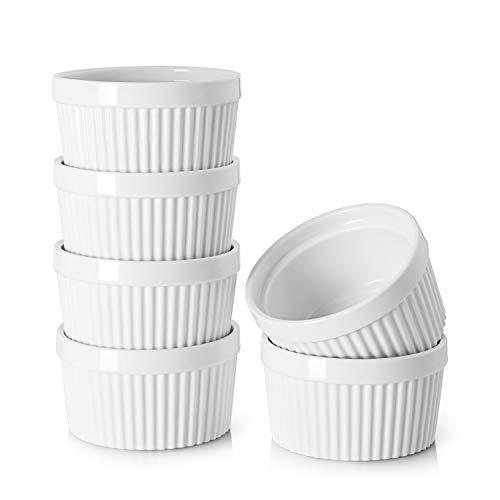 DOWAN 8 oz Ramekins - Ramekins for Creme Brulee Porcelain Ramekins Oven Safe, Classic Style Ramekins for Baking Souffle Ramekins Ramekins Bowls, Set of 6, White