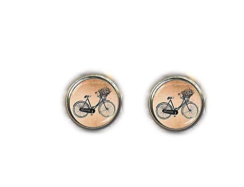 Bloody devil Pendientes de Tuerca Vintage con diseño de Bicicleta de Diablo Sangriento, Estilo Vintage, Pendientes de Bronce