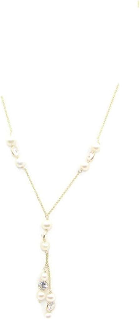 Sophia Fine Jewelry Freshwater White Pearl & Cubic Zirconia 15