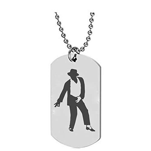 Michael Jackson Unisex MJ Anhänger Halskette King Of Pop Dancer Star Charm Halsketten (A)