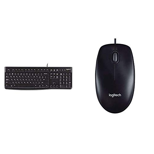 Logitech K120 Tastiera Cablata Business per Windows/Linux, USB & M90 Mouse USB Cablato, 1000 DPI, Mouse Ambidestro, Compatibile con PC/Mac/Laptop, Nero