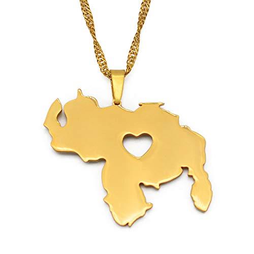YUANYIRAN Mapa De Venezuela Viejos Collares Colgantes - Charm Africa Country Maps Bandera Collares De Cadena Delgada, Mapa Patriótico De Color Oro Hip Hop Joyería para Mujeres Hombres Fiesta Regalo