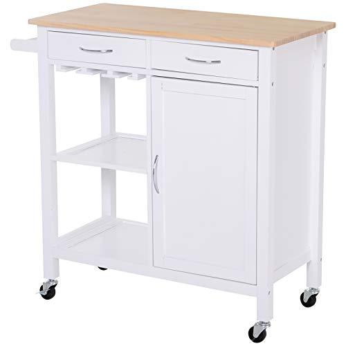 HOMCOM Kitchen Storage Trolley Cart Cupboard Rolling Wheels Shelves Cabinet...