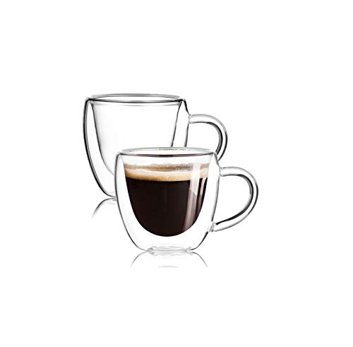 [2-Pack,2.5 Oz]Espresso Cups With Handle,Nespresso Shot Glasses,Glass Coffee Mugs,Double Wall Coffee Mug,Clear Coffee Mug,Glass Tea Cup,Insulated Glasses,Dishwasher Safe,Suit for Nespresso Machine