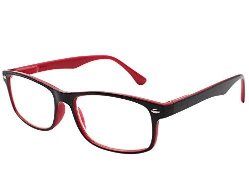 TBOC Gafas de Lectura Presbicia Vista Cansada – Graduadas +1.50 Dioptrías Montura de Pasta Bicolor Roja y Negra Diseño Moda para Hombre Mujer Unisex con Lentes de Aumento para Leer y Ver de Cerca