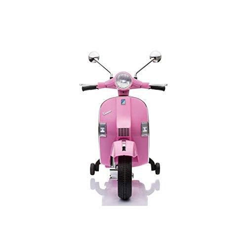 ATAA Vespa clásica PX 150 Oficial 12v Licencia Piaggio - Rosa - Moto eléctrica para niños hasta 7 años. Batería 12v portamaletas de Regalo