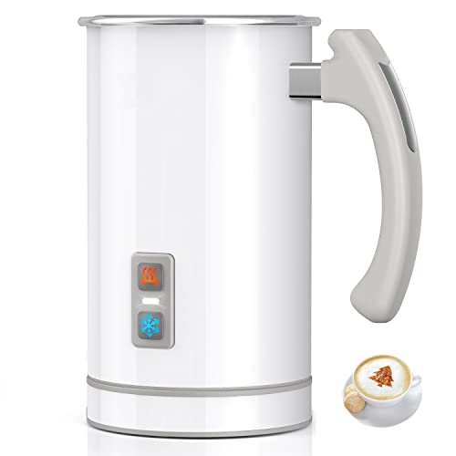 Milk Frother, Stainless Steel 16.9oz/3.4oz Electric Milk Steamer, Hot and Cold Foam Maker and Milk Warmer for Latte, Cappuccinos, Macchiato, Hot Chocolate Milk, 650W, 120V, Fashion White