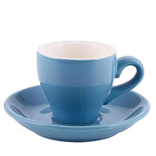 WPJ Tazas Espresso Copas y platillos Sencillez Color Cerámica Copa de Cerámica Pequeña Copa y platillo Conjunto para el Restaurante Copas de café con Cuchara (80 ml) Tazas de café (Color : Blue)
