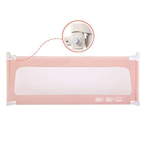 XJJUN Barrière De Lit Vertical Lift Barrière De Sécurité for Lit De Bébé Safety Anti-Fall Safety Lockable Buckle for Children, 3 Colors (Color : Pink, Size : 200x72-82cm)