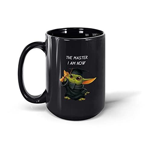 Yo-da - Taza de regalo de graduación, clase de 2021, regalo de graduación para él y ella, taza de café de cerámica, taza de té (negro, 15 onzas)