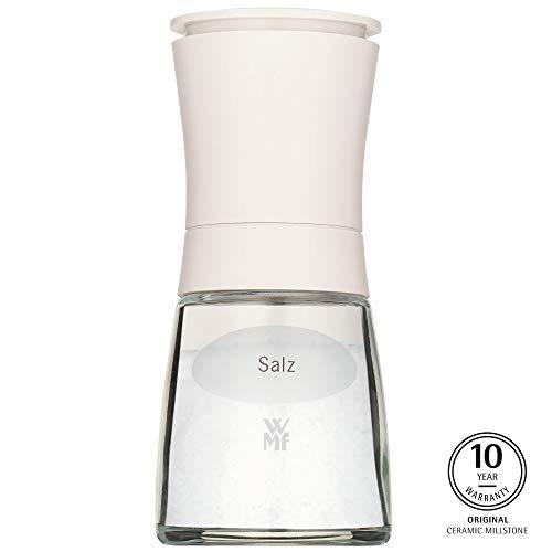 WMF Trend Salzmühle unbefüllt 14 cm, Gewürzmühle mit Aufschrift, Keramikmahlwerk, Kunststoff Glas, weiß
