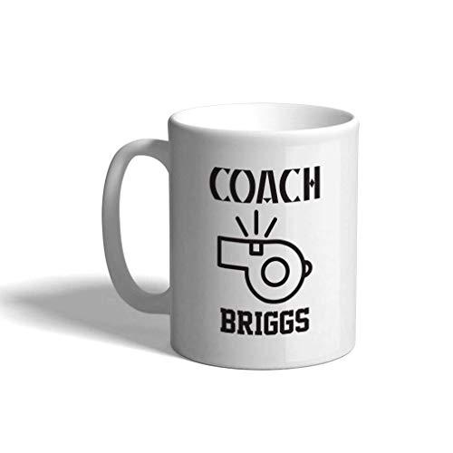 Taza de café personalizada de cerámica 11 onzas Entrenador Briggs Baloncesto Taza de té blanca Baloncesto