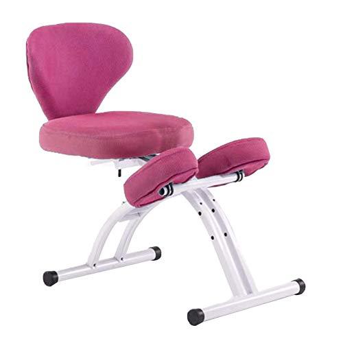 Bseack Kniestuhl Ergonomischer Knienstuhl mit Rückenlehne Orthopädische Stuhl für Kinder höhenverstellbarer Hausstudentenschreibstuhl Effektiv verhindern Humpback-Myopie (Color : Pink)
