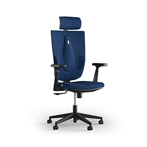 KULIK SYSTEM Light Space - Ergonomic Office Chair with Innovative Lumbar Support and Posture Corrector - High Back Computer Chair with Coat Hanger and Adjustable Headrest - Blue