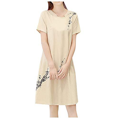 Vestido de mujer de manga corta con cuello redondo, largo hasta la rodilla, con estampado suelto, vestido liso, tallas M-3XL