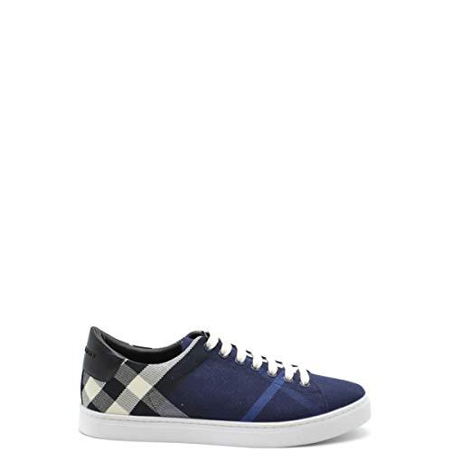 Burberry Zapatillas De Hombre De Tela Y Piel, Modelo 4054042, Color Azul Y Negro Azul Size: 39.5 Eu