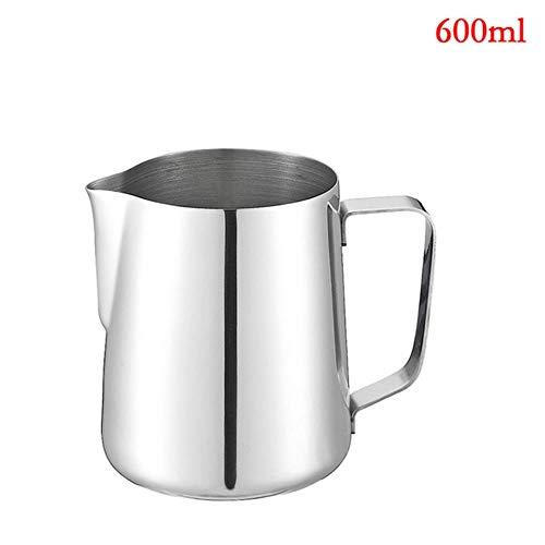 Sizwea Edelstahl Milchkännchen italienischen Kaffeetasse Kunst Tasse Werkzeug Barista Handwerk Kaffee Milch Sekt Krug Krug, 600ML