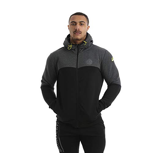 Gold's Gym UK Herren Sweatshirt Ggswt085 mit Kapuze und Reißverschluss, Herren, Herren-Kapuzenpullover mit durchgehendem Reißverschluss., GGSWT085, Schwarz/Charcoal, L