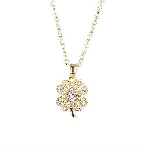 LFWQ Elegante halsketting met diamanten, voor dames, klavertje vier bladen, korte ketting Goud