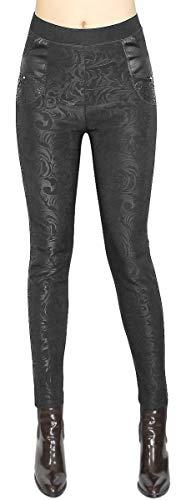 dy_mode Damen Thermo Leggings/Thermo Hose Damen mit Innenfleece Innenfutter - Gr. 38 bis 42 - WL025 (38/M, WL025-Wildflower)