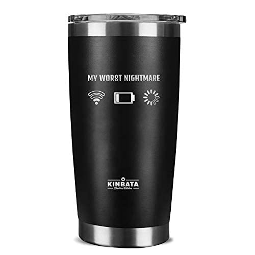 Computer Geek Gifts for Men-Cool Unique Gamer Birthday Gifts for Him Funny Personalized Present Ideas for Women, Husbands,Dad, Boyfriend,Coworkers,Guys Insulated Coffee Tumbler 20oz Black Worst