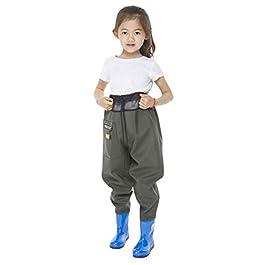 N / A Waders de Pêche Enfants Salopette de Chasse Pantalon de Wading avec Bottes Imperméables Cuissardes de Pêche pour…