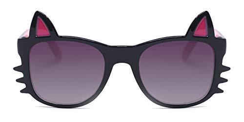 TIJN Kids Girls Cute Sweet Cat Ears Polarized Sunglasses Plastic Toddlers Black