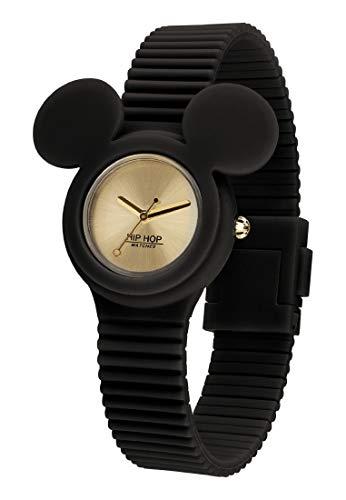 Hip Hop Watches - Orologio Mickey Mouse da Donna Edizione Speciale Anniversario Topolino - Collezione Mickey Iconic - Cinturino in Silicone - Cassa 32mm - Impermeabile - Nero