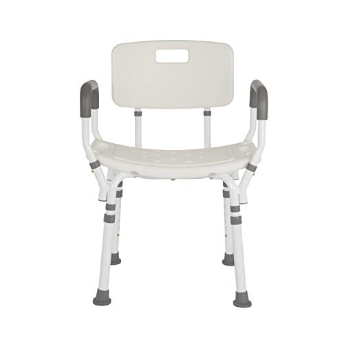 Lifestyle Mobility Aids Premium Shower Chair with Back and Padded Arms (White)