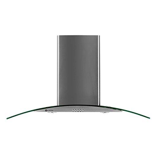 Klarstein GL90WS - Campana extractora de pared, Capacidad de extracción de 490m³/h, 90 cm, Diseño cristal, Acero inoxidable, Iluminación opcional, Cristal transparente