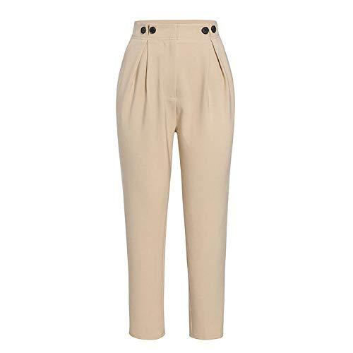 Pantalones de harén Casuales sólidos Pantalones Femeninos Pantalones de Mujer de Oficina de Cintura Alta Pantalones de Traje de Chaqueta Pantalones de Mujer Sueltos hasta el Tobillo
