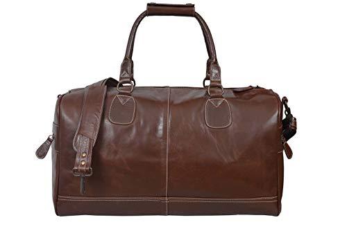 Nueva gran Mid marrón real cuero Holdall–Bolsa para deportes gimnasio de viaje...