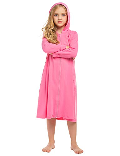 Ekouaer Big Girls Hooded Bathrobes Zipper Front Zip Up House Coat Lougewear Long Sleeve House Dress Swimsuit Cover up(Rose,8-9T)