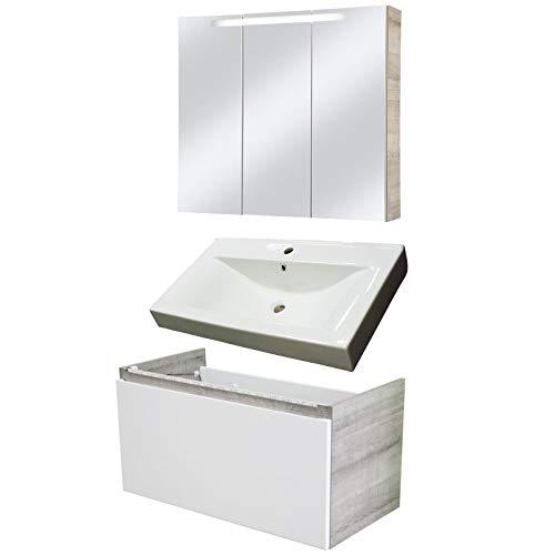 Badmöbel-Set Weiß Hochglanz
