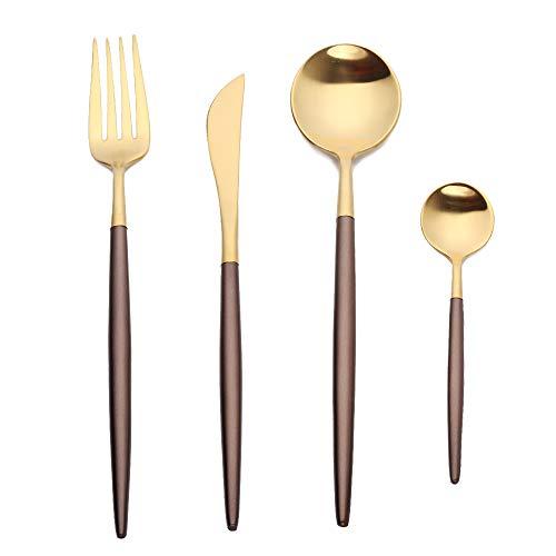 Juego de cubertería de acero inoxidable mate en elegante diseño para 1 persona (marrón/bronce)