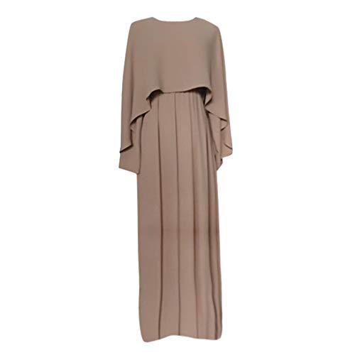 Lazzboy Vintage Women Abaya Long Maxi DRE Arab Jilbab Muslim Robe Islamic Kaftan Muslim Kleider, Damen Lange Arabische Muslimische Islamischer Dubai Kleidung(Beige,2XL)