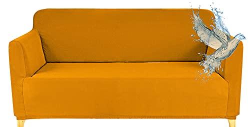 Funda Sofa 2 Plazas Impermeable Fundas para Sofa Elasticas Funda de Sofa Ajustables Antideslizante Protector Fundas Sofa, Amarillo ⭐